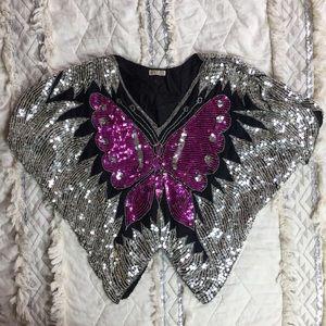 Tops - Vintage 80s Silk Butterfly Disco Top Boho Festival